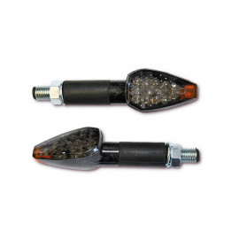 Shin Yo Peak LED Motorcycle Turn Signal Set (carbon) tinted Glass / long