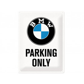 Nostalgic Arts BMW Parking Only White Metal Sign (30x40cm)