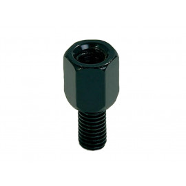 P&W Adapter for Mirror (black) M8 (Hole right-hand thread) to M10 (Bolt left-hand thread).